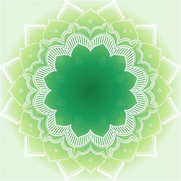 Mandaladesign auf grünem hintergrund Kostenlosen Vektoren