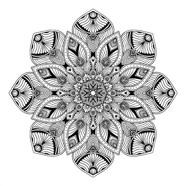 Mandalamalbuch, orientalische therapie, yoga-logos vektor. Premium Vektoren