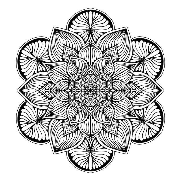Mandalas malbuch, blütenform, orientalische therapie, yoga logos vektor. Premium Vektoren