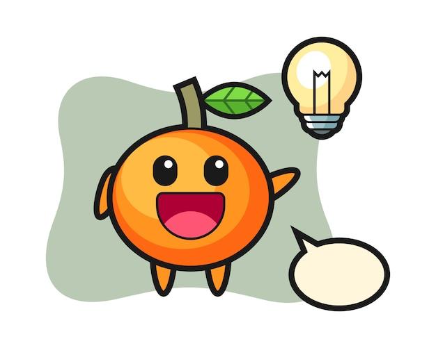 Mandarin orange charakter cartoon bekommen die idee, niedlichen stil, aufkleber, logo-element Premium Vektoren