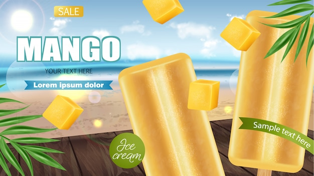 Mango-eis-banner Premium Vektoren