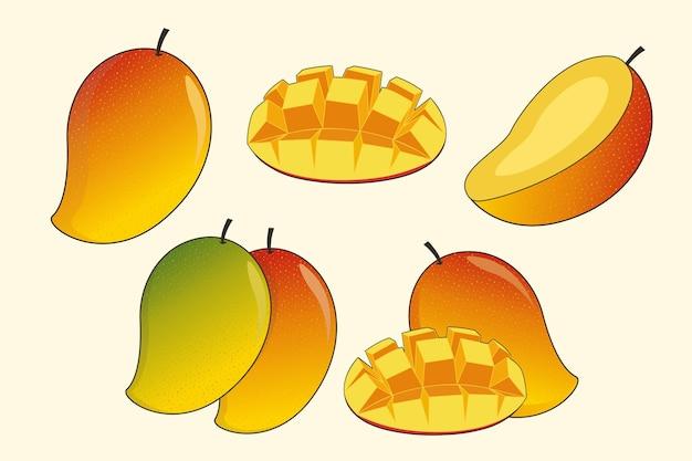 Mango-frucht-set Premium Vektoren