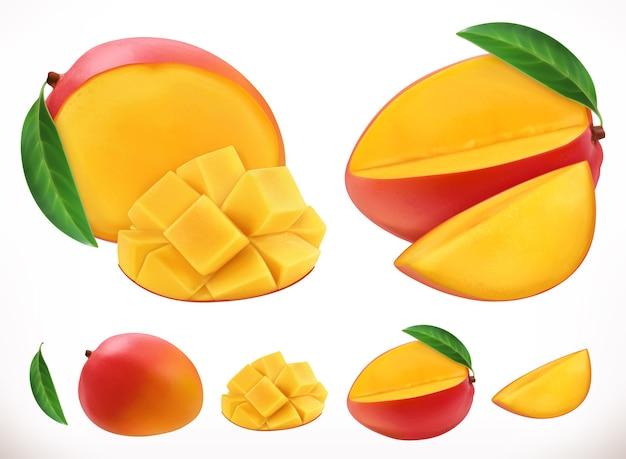 Mango. realistischer vektor der frischen frucht 3d Premium Vektoren