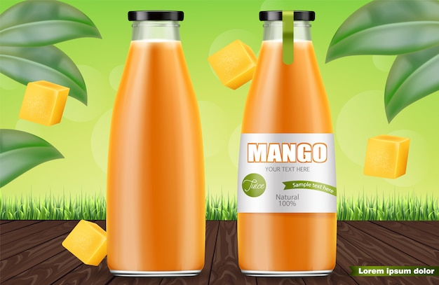 Mango-saft-flaschen Premium Vektoren