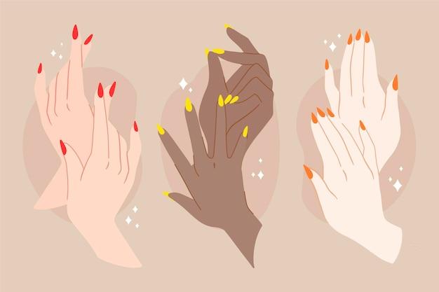 Maniküre hand sammlung Kostenlosen Vektoren