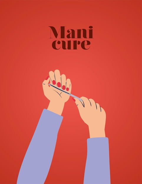 Maniküre schriftzug und hände mit roten nägeln und einer nagelfeile Premium Vektoren