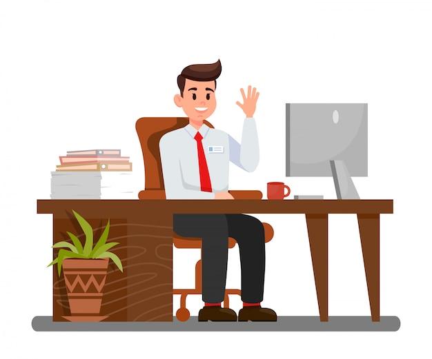 Mann am arbeitsplatz in der büro-vektor-illustration Premium Vektoren