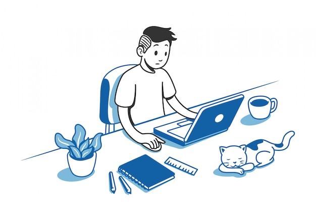 Mann arbeitet am schreibtisch Premium Vektoren