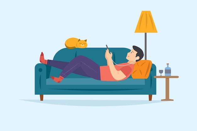 Mann auf dem entspannenden sofa beim hören musik auf smartphone Kostenlosen Vektoren