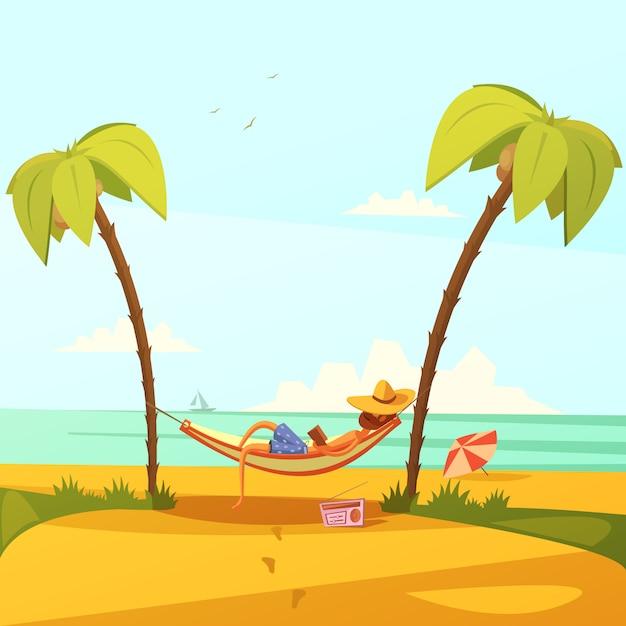 Mann auf dem strandhintergrund mit hängemattenradio und -palmen Kostenlosen Vektoren