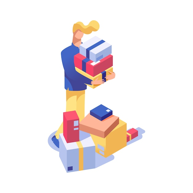 Mann auf kaufender isometrischer illustration Premium Vektoren