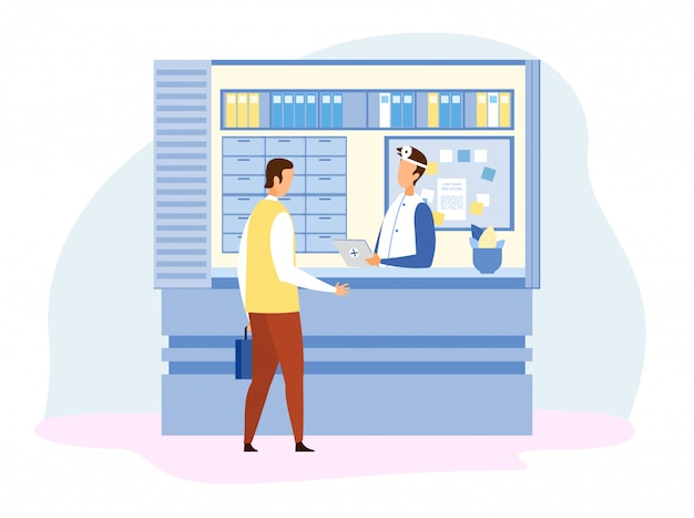 Mann-besucher, der mit doktor an der rezeption spricht Premium Vektoren