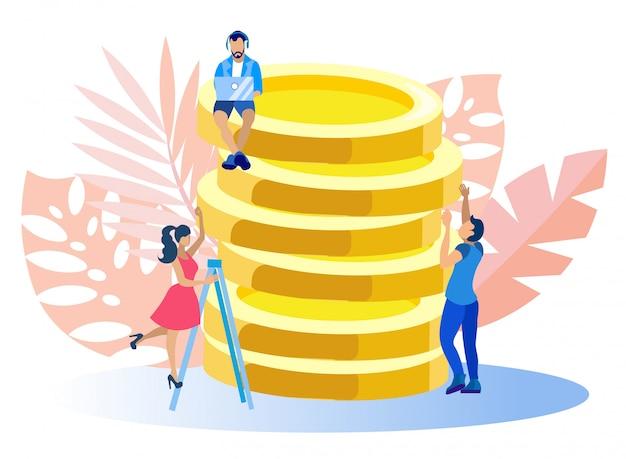 Mann charakter sitzungen auf goldmünzen, freiberuflich. Premium Vektoren
