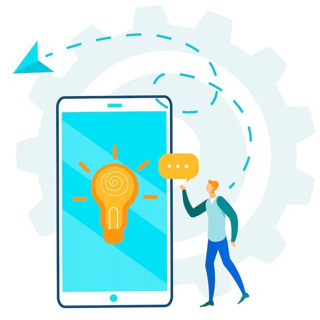 Mann charakter und kommunikation über mobile idea Premium Vektoren