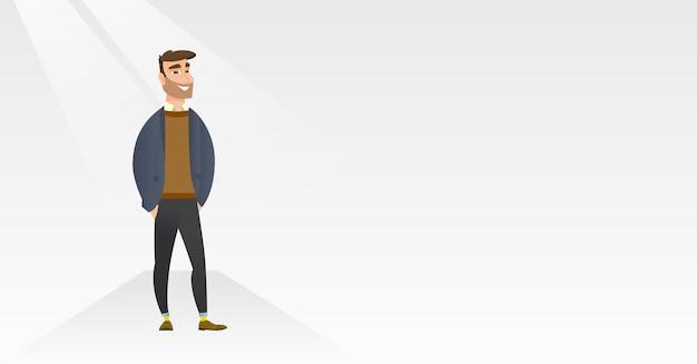 Mann, der auf brücke während der modeschau aufwirft. Premium Vektoren