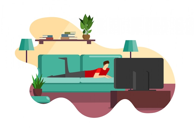 Mann, der auf couch vor fernsehschirm liegt Premium Vektoren