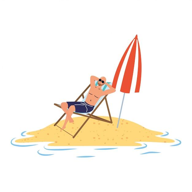 Mann, der auf dem strand sitzt, der im stuhl und im regenschirm sitzt Premium Vektoren
