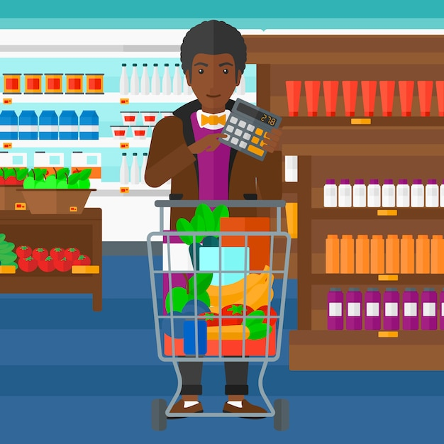 Mann, der auf taschenrechner im supermarkt zählt Premium Vektoren
