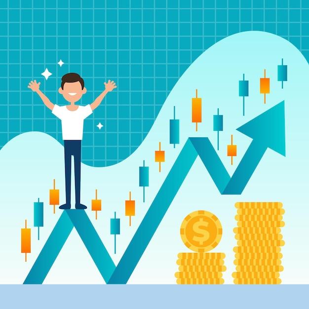 Mann, der auf wachstumsgraphpfeil steht Kostenlosen Vektoren
