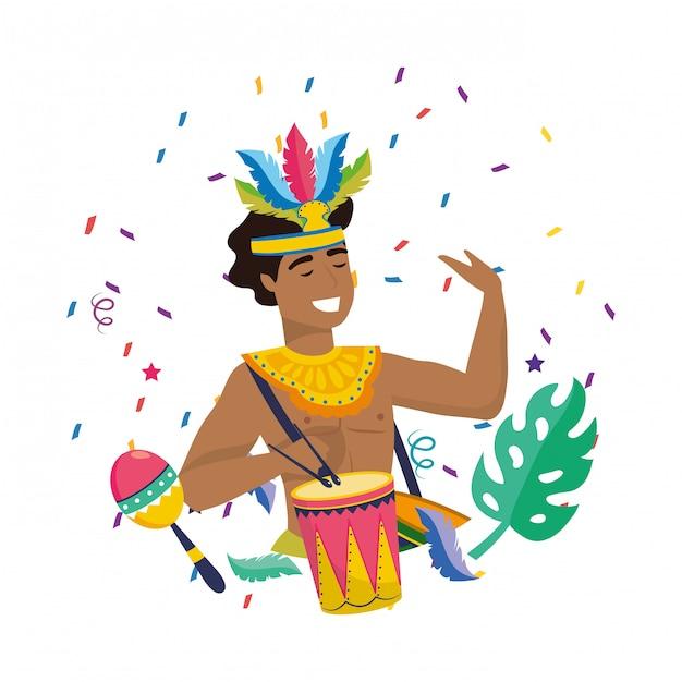 Mann, der brasilien-karnevalsvektorillustration feiert Premium Vektoren