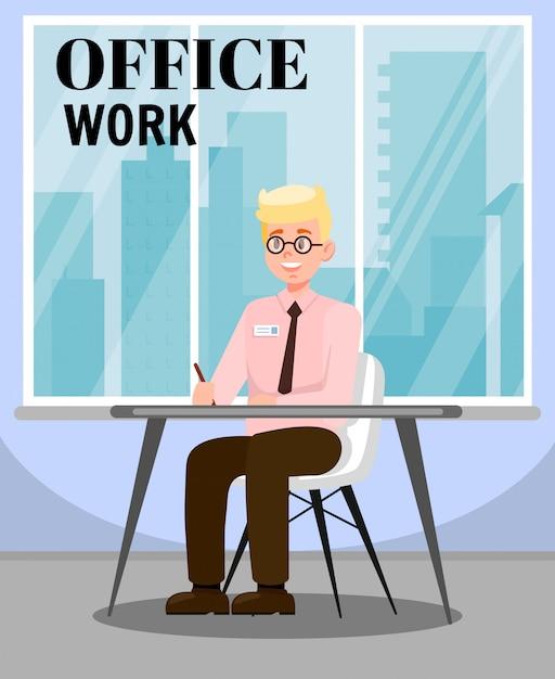 Mann, der büro-arbeits-flache vektorillustration erledigt Premium Vektoren