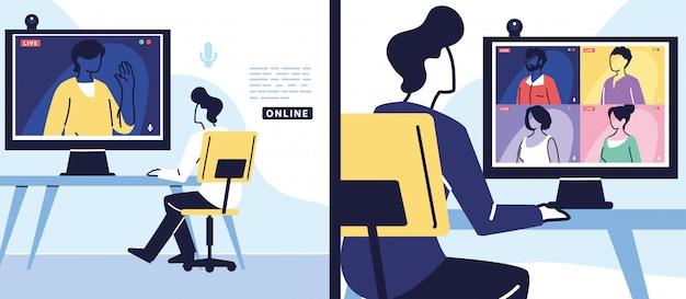 Mann, der computer für virtuelles treffen, banner verwendet Premium Vektoren