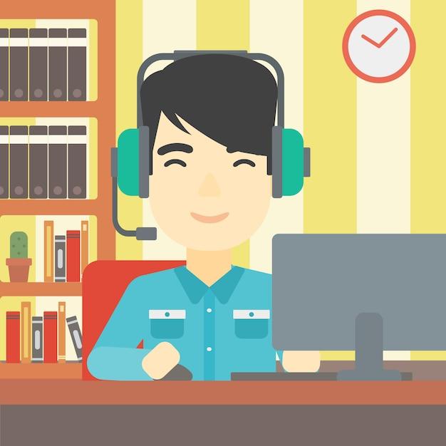 Mann, der computerspielvektorillustration spielt. Premium Vektoren
