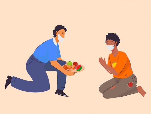 Mann, der der bedürftigen person früchte mit sicherheitsmaske gibt und sich vor coronavirus schützt. Premium Vektoren