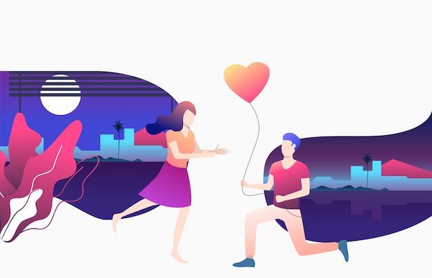 Mann, der der freundin herzförmigen ballon gibt Kostenlosen Vektoren