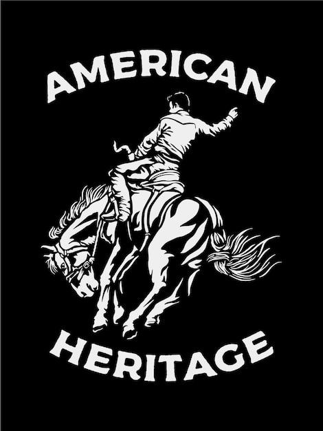 Mann, der ein pferd in der schwarzweiss-farbe reitet Premium Vektoren