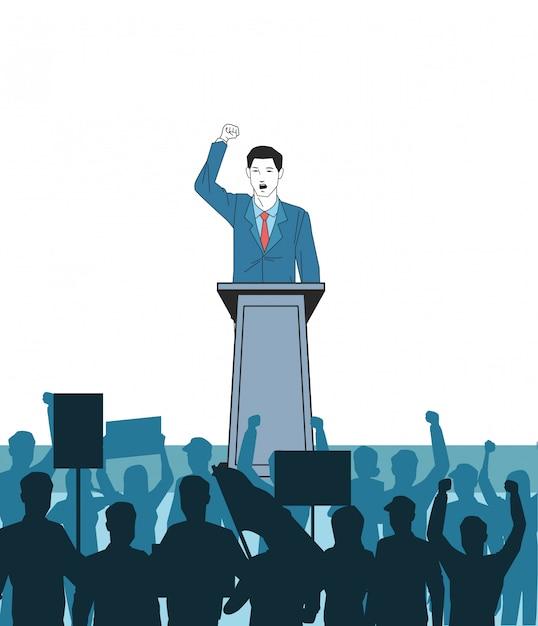 Mann, der eine rede und ein publikumschattenbild bildet Premium Vektoren