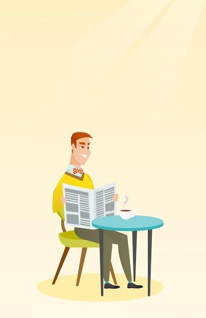 Mann, der eine zeitung liest und kaffee trinkt. Premium Vektoren