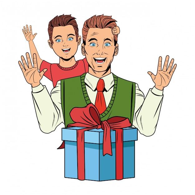 Mann, der einen jungen mit einer geschenkbox trägt Kostenlosen Vektoren