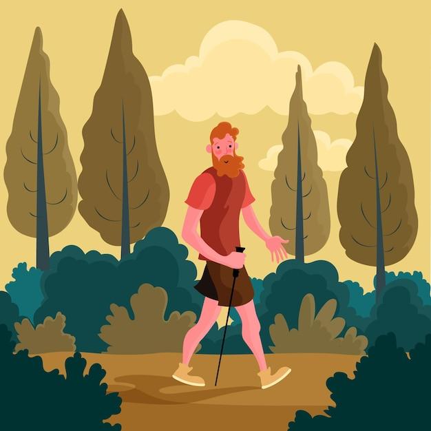 Mann, der einen spaziergang im wald nimmt Kostenlosen Vektoren