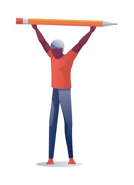 Mann, der enorme bleistift-obenliegende illustration hält Premium Vektoren