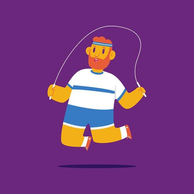 Mann, der fitnessübung mit springendem seilkarikaturcharakter lokalisiert auf hintergrund tut. Premium Vektoren