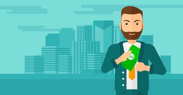 Mann, der geld in tasche einsetzt. Premium Vektoren