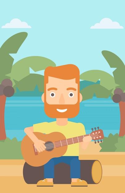 Mann, der gitarre spielt. Premium Vektoren
