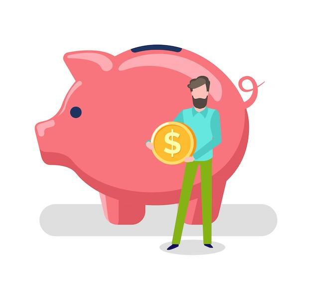 Mann, der goldmünze, schwein-einsparungsvermögen des kunden hält Premium Vektoren