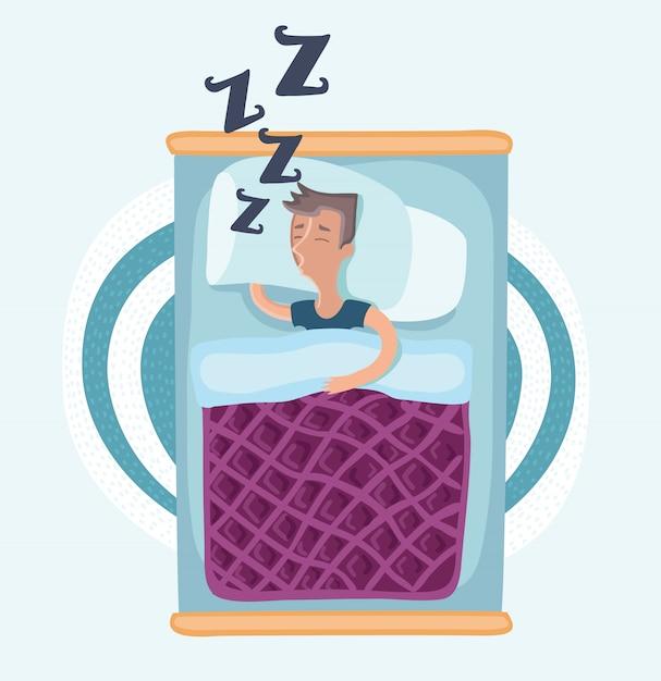 Mann, der im bett unter decke schläft, pyjamas trägt, auf seite liegend, draufsichtkarikaturillustration auf weißem hintergrund. draufsicht des mannes, der auf seite im schlafanzug schläft, im bett unter der decke liegend Premium Vektoren