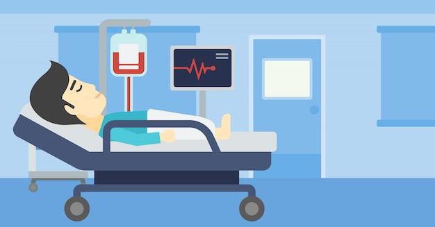 Mann, der in der krankenhausbettvektorillustration liegt. Premium Vektoren