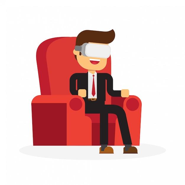 Mann, der in tragendem sturzhelm der virtuellen realität des lehnsessels sitzt Premium Vektoren