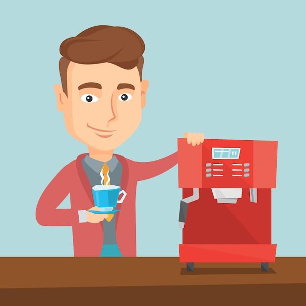 Mann, der kaffee-vektorillustration macht. Premium Vektoren