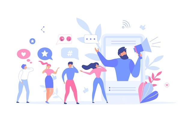 Mann, der leute einlädt, verbinden metapher der sozialen netzwerke Premium Vektoren