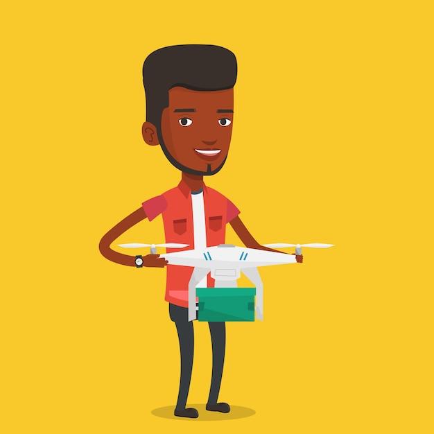 Mann, der lieferdrohne mit postpaket steuert Premium Vektoren