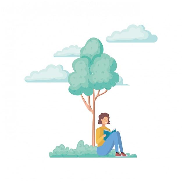 Mann, der mit buch in der landschaft mit bäumen und anlagen sitzt Premium Vektoren