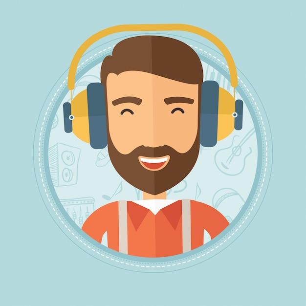 Mann, der musik in den kopfhörern hört. Premium Vektoren