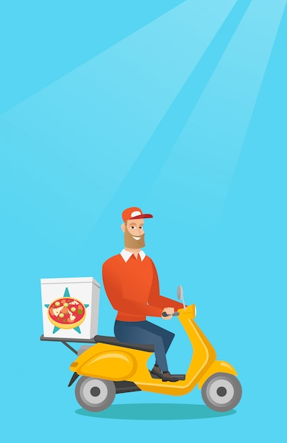 Mann, der pizza auf roller liefert. Premium Vektoren