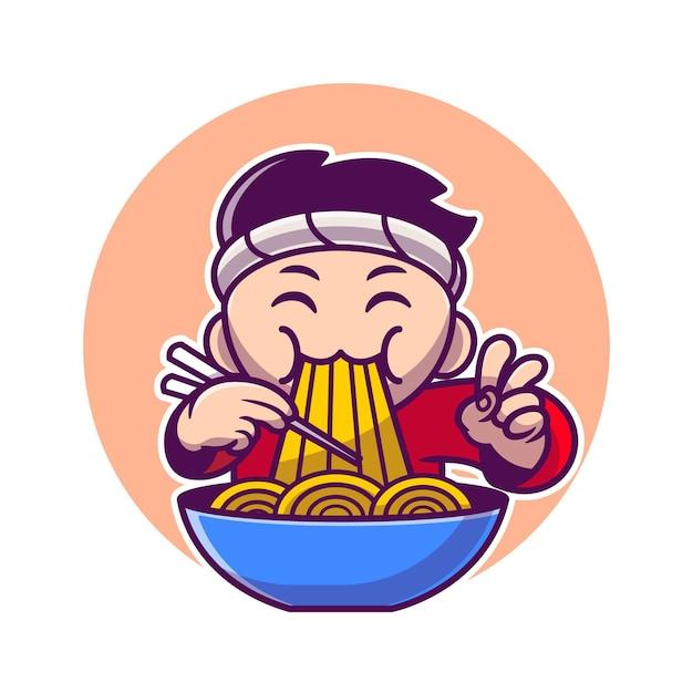 Mann, der ramen-nudel mit essstäbchen-karikatur isst Kostenlosen Vektoren
