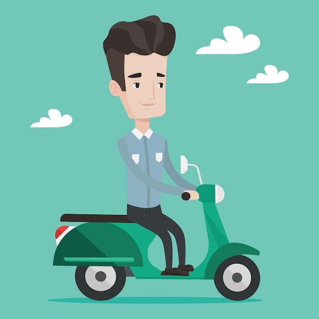 Mann, der rollerillustration reitet. Premium Vektoren